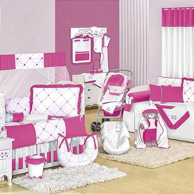 Quarto para Bebê sem Cama Babá Flores Pink
