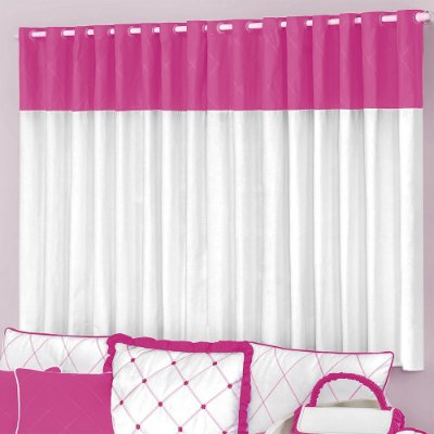 CORTINA SIMPLES FLORES PINK