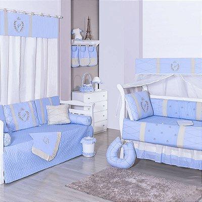 Quarto Completo com a inicial do bebê bordada luxo azul