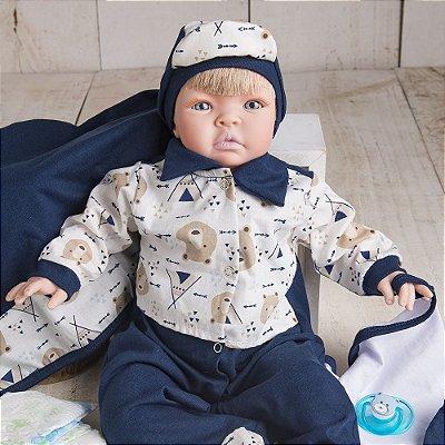 Boneco Bebê Reborn Kiss Indiozinho com Acessórios