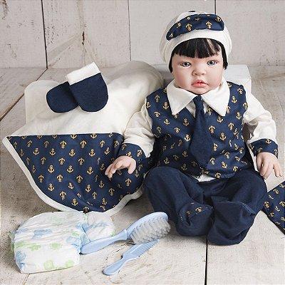 Boneco Bebê Reborn Kiss Marinheiro Luxo com Bolsa Acessórios