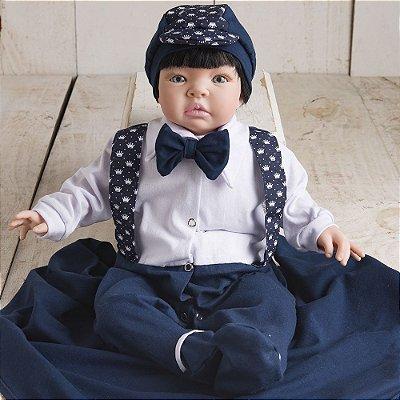 Boneco Bebê Reborn Kiss Lucas com Berço em MDF