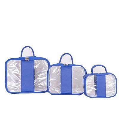 Conjunto de Bolsas Transparente Paraty Azul