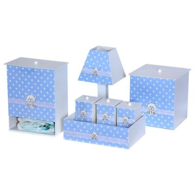 Kit Higiene Poá Azul Bebê Mdf