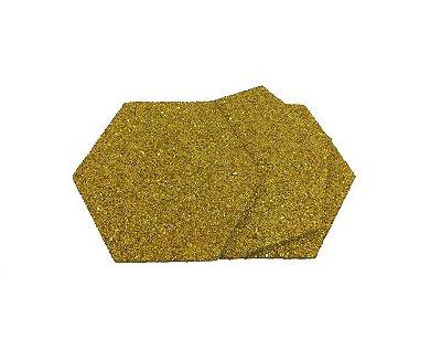 EVA Adesivado Dourado Gliter 2mm - Placa retangular 30x40cm