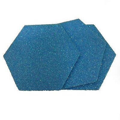 EVA Adesivado Azul Gliter 2mm - Placa retangular 30x40cm