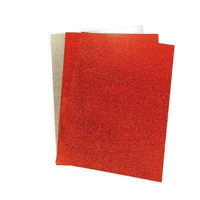 Acrílico glitter Dupla face 2mm - Placa retangular 30x40cm Laranja/Dourado