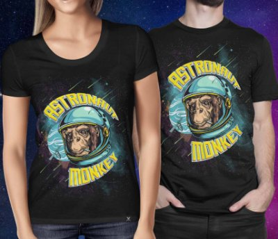 Camiseta Printfull Astronaut Monkey