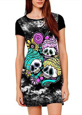 Vestido Printfull tipo camiseta t-shirt dress Cupcake Skull