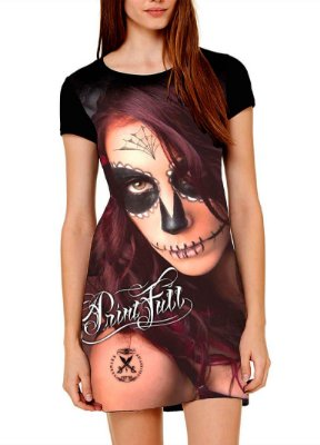 Vestido Printfull tipo camiseta t-shirt dress Sugar Skull