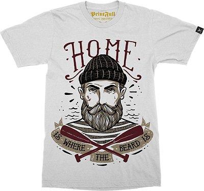 Camiseta Printfull Home is where the beard is