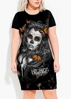 Vestido T-shirt Dress Printfull Sugar Skull Styling