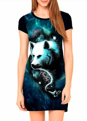 Vestido T-shirt Dress Printfull Enchanted Wolf