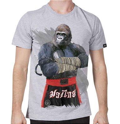 Camiseta Cinza Mescla Printfull Gorilla Fighter
