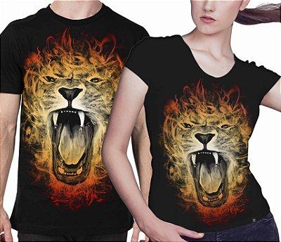 Camiseta Printfull Lion with Flames