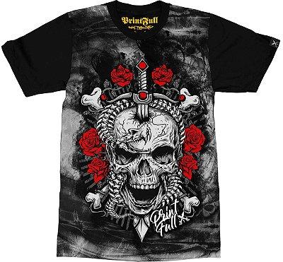 Camiseta Printfull Rebellion Skull