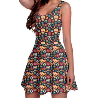 Vestido Boneca Curto Regata Printfull Party With Sugar Skulls