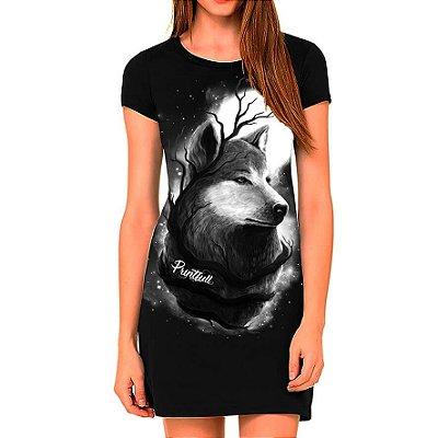 Vestido Printfull tipo camiseta t-shirt dress Night Wolf