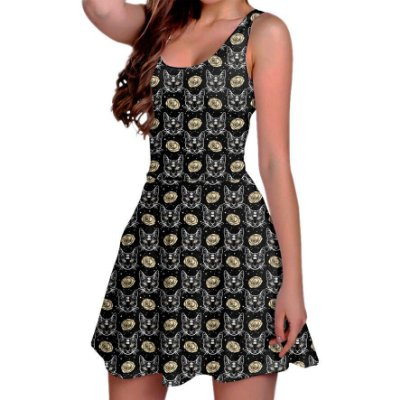 Vestido Boneca Curto Regata Printfull Cat and Roses in Tattoo