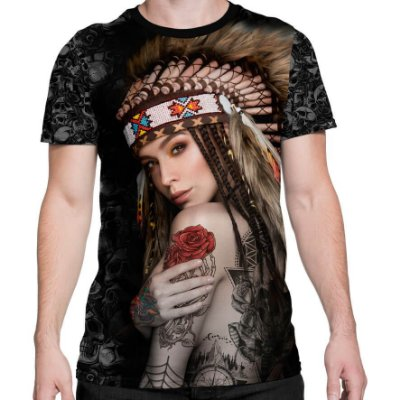 Camiseta Printfull Native Ethnic Lady