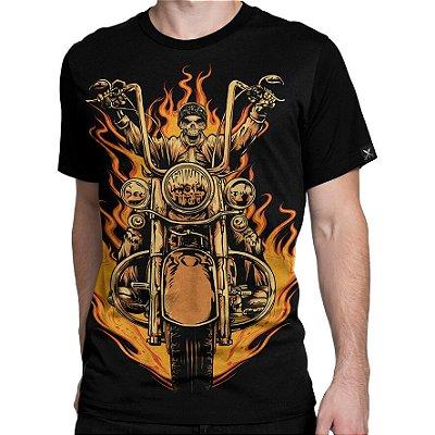 Camiseta Printfull Biker Skull