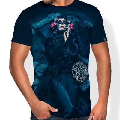 Camiseta Printfull Calavera Catrina of Throne