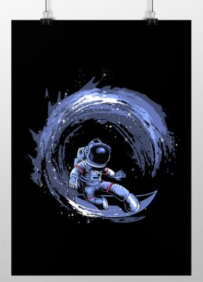 Poster Printfull Surfing in Space