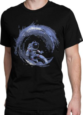 Camiseta Printfull Surfing in Space - masculina