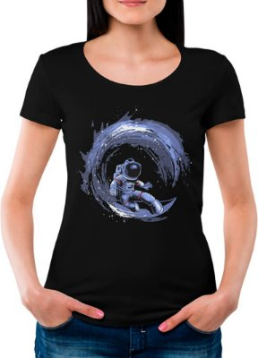 Camiseta Printfull Surfing in Space - feminina