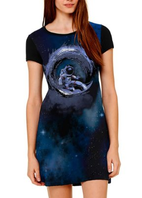 Vestido Printfull tipo camiseta t-shirt dress Surfing in Space