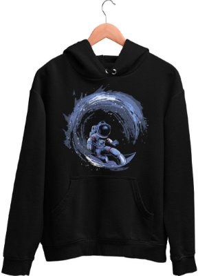 Blusa de Frio Printfull Surfing in Space - masculina