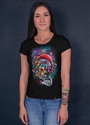 Camiseta Printfull Astronaut Flower- feminina