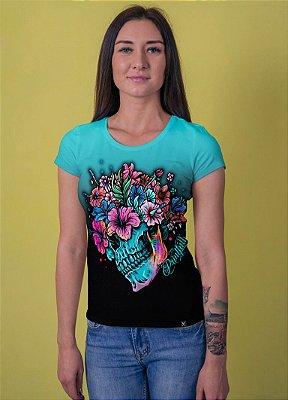 Camiseta Printfull Flower Skull Colorful- feminina