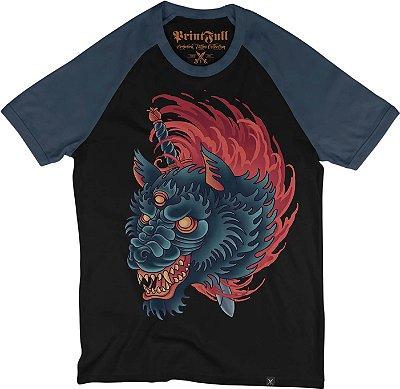 Camiseta Raglan Printfull Wolf Slaughter