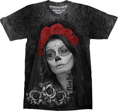 Camiseta Printfull Catrina Calavera Roses