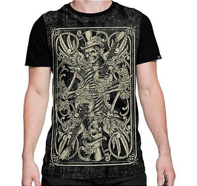 Camiseta Printfull Skeleton Playing Card