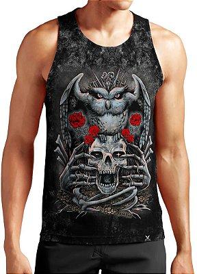 Regata Masculina Printfull Owl skull rose
