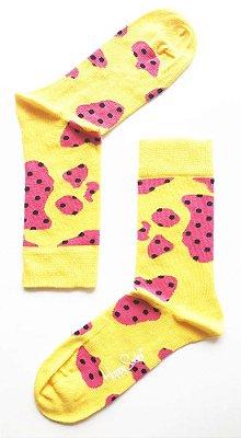 Meia Colorida Happy Socks Amarela 33/40
