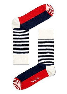 Meia Colorida Happy Socks Branco com Azul 33/40