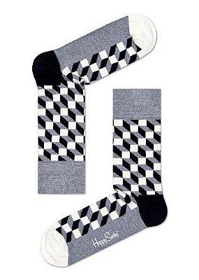 Meia Estampada Happy Socks 3D Cinza 33 ao 40