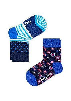Kit Meia Infantil Happy Socks Azul 25 ao 30