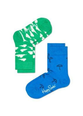 Kit Meia Infantil Happy Socks Verde e Azul 25 ao 30