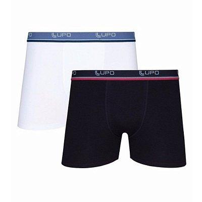 Kit 2 Cuecas Boxer Lupo AM Algodão 523 Branco e Preto