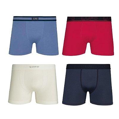 Kit 4 Cuecas Boxer Lupo de Microfibra e Algodão Branco Preto Vermelho e Azul