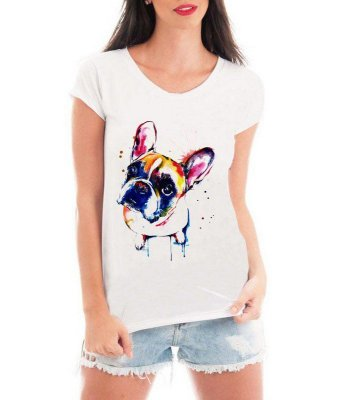 Camiseta Feminina T-shirt Branca Pet Lovers Bulldog Colorido