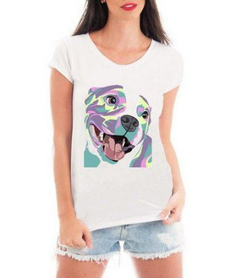 Camiseta Feminina T-shirt Branca Pet Lovers Pit Bull Colorido