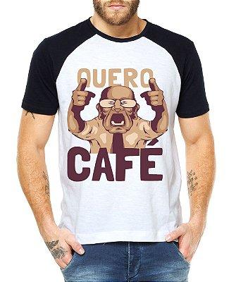 Camiseta Masculina Raglan Branca Quero Café