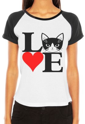 Camiseta Feminina Raglan Branca Cat Love Gato Pet