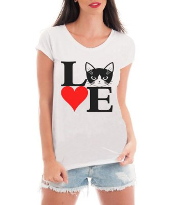 Camiseta Feminina T-shirt Cat love