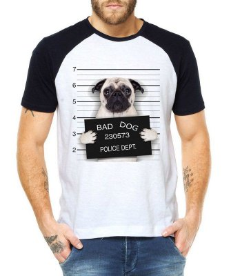 Camiseta Masculina Raglan Branca Bad Dog